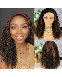 Rudy 10-Highlight brown loose kinky curly Headband wigs Brazilian virgin human hair 150% density