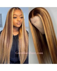 Lori-highlight color hair silky straight pre plucked lace wig 100% Brazilian virgin hair