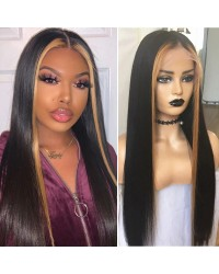 Emily72-highlight natural straight Pre plucked 360 wig Brazilian virgin