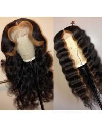 Emily55-Pre plucked Brazilian virgin highlight wave 360 wig