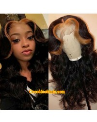 Emily55-Pre plucked Brazilian virgin highlight wave 360 wig