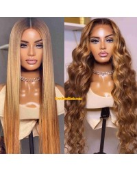 Angela 34-Honey blonde brown Silky Straight 5x5 HD lace closure human hair wig