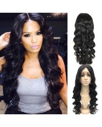 Nelly-Brazilian virgin hair loose wave middle part full lace wig