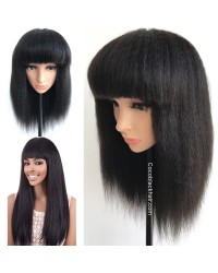 BOB04-Brazilian virgin Kinky straight machine made wig with bangs
