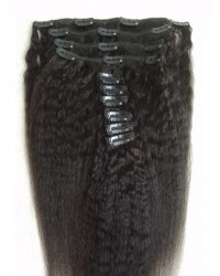 Indian remy Italian yaki Clips in hair extensions