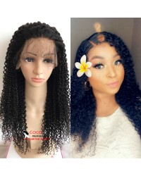 Rena-Indian virgin jerry curl glueless lace front wig