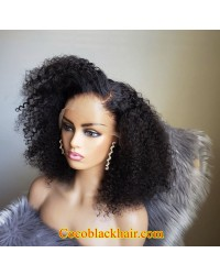 Emily87-Kinky curl bob 360 wig Pre plucked hairline Brazilian virgin human hair bleached knots