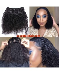 Brazilian virgin kinky curly Clips in hair extensions