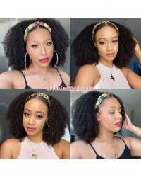 Rudy 04-Headband wigs kinky curly Brazilian virgin human hair 150% density