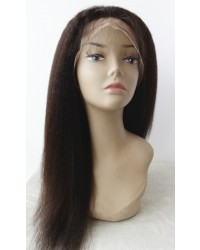 Olga- Kinky straight glueless lace front silk top wig