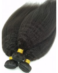 3 bundles kinky straight machine wefts Brazilian virgin