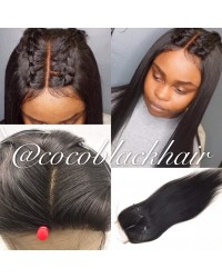 Brazilian virgin silk straight 4x4 lace closure