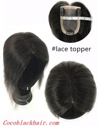 5inchesx3inches Clips in Mona lace base topper hair pieces-PU around[TP08]