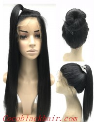 Lidia- Chinese virgin Light Yaki glueless lace front wig