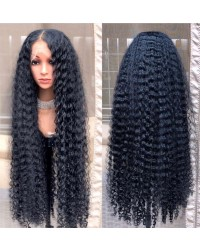 Emily49-Pre plucked long curly Brazilian virgin human hair 360 wig