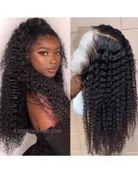 Jody08-loose kinky curly 370 wig pre plucked Brazilian virgin human hair