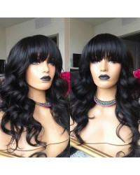 Emily69-Pre plucked Brazilian virgin loose ocean wave 360 wig with bangs