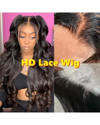 "Hazel-HD Lace Wig Loose Wave Pre plucked Brazilian 150% density glueless 6"" lace front wig"