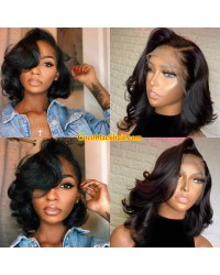 Emily77-Brazilian virgin loose wave bob 360 wig pre plucked hairline bleached knots