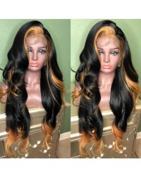 Rosa-Brazilian virgin ombre color loose wave pre plucked full lace wig