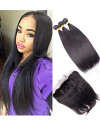 lace frontal with 3 bundles silk straight Malaysian virgin