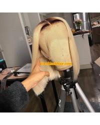 BOB08-Brazilian virgin 1b/ 613 bob glueless lace front wig