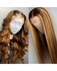 Emily65-Pre plucked Brazilian virgin ombre color 360 wig