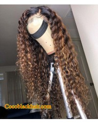 Rebecca-Ombre color curly hair Brazilian virgin human hair pre plucked hairline
