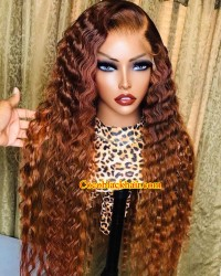 Emily96-Deep wave ombre color 360 wig Brazilian virgin hair Pre plucked hairline