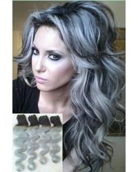 1B / Grey Ombre Body Wave Brazilian Hair Weaves 4 units