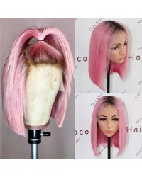 BOB13-Brazilian virgin ombre pink glueless lace front wig