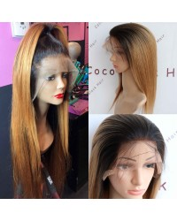 SP01-Brazilian virgin yaki straight ombre color pre plucked glueless full lace wig