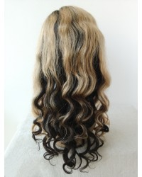 Tonya-Brazilian virgin ombre hair Glueless full lace wig with 2x4 silk top
