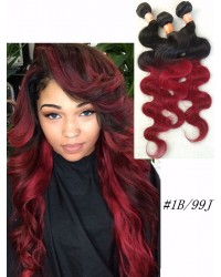 3 bundles Brazilian Virgin Body wave 1B/99J Ombre Hair Wefts