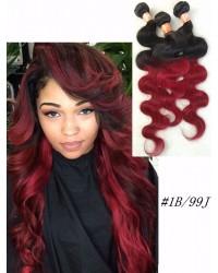 3 bundles Brazilian Virgin Body wave 1B/99J Ombre Hair Wefts