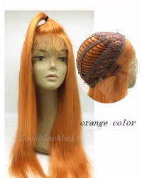 Adele-Brazilian virgin orange colour lace front wig
