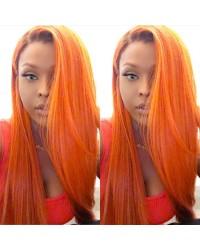 Adele-Brazilian virgin orange color lace front wig