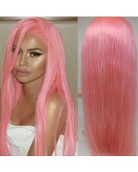 Melody-Brazilian virgin pink color silky straight lace front wig