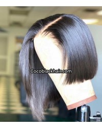 Azar-Indian virgin pre plucked straight bob full lace wig
