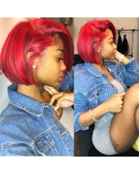 Jayda-Brazilian virgin red color bob hair pre plucked full lace wig