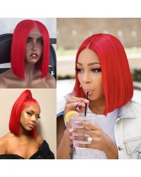 BOB07-Brazilian virgin red color bob glueless lace front wig