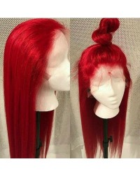 Karin-Brazilian straight red color pre plucked full lace wig