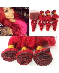 lace closure with 3 bundles Brazilian virgin red hair loose wave