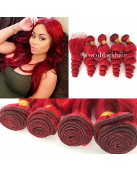 lace closure & 4 bundles loose wave Brazilian virgin red hair
