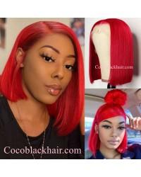 BOB07-Brazilian virgin red color bob glueless lace front wig