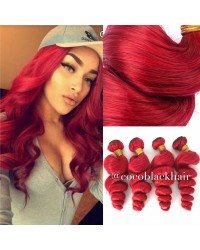 Brazilian virgin 4 bundles loose wave red hair wefts