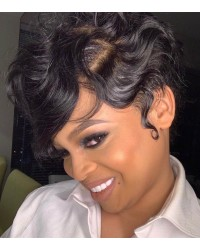 "Carol-Indian virgin short cut summer hair 6"" deep parting glueless lace front wig"