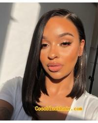 Angela 11-5x5 HD lace closure wig Straight Bob side parting 10A grade Brazilian virgin human hair