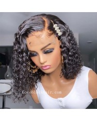 Angela 13-5x5 HD lace closure wig side parting deep curly bob 10A grade Brazilian virgin human hair