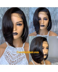 Angela 28-5x5 HD lace closure wig soft wave side parting bob Brazilian virgin human hair